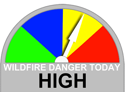 There is High Wildfire Danger today.