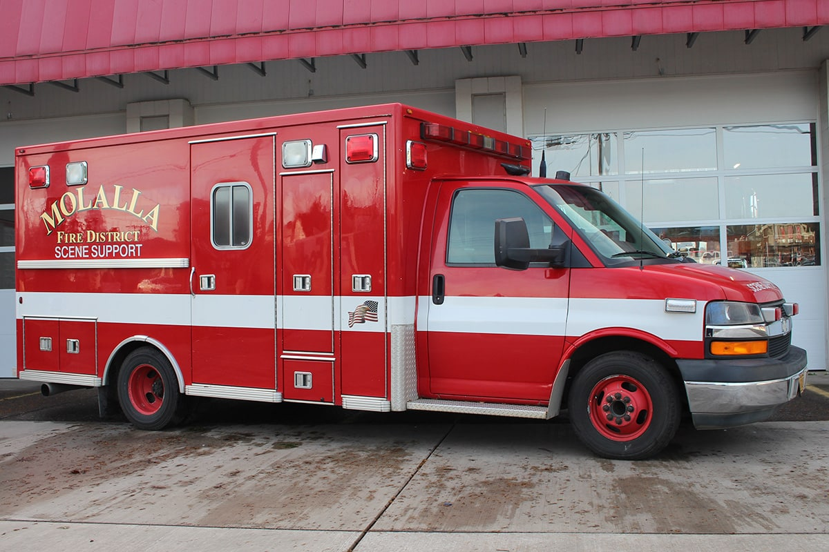 Rehab 384 parked in front of the bay doors